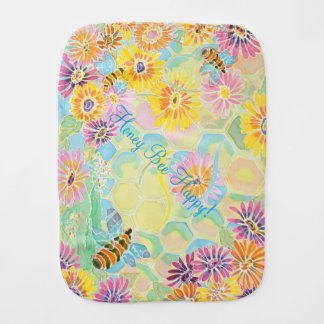 Honey Bee Happy! burp cloth for babies and fun!