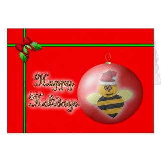 Honey bee happy holidays honey bee apiary buzz greeting card