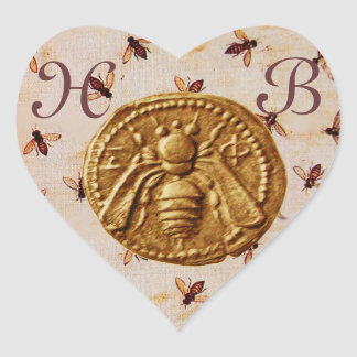 HONEY BEE,  HEART MONOGRAM HEART STICKER
