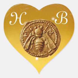 HONEY BEE,  HEART MONOGRAM STICKER