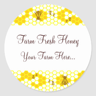 Honey Bee Honeycomb Art Custom Jar Stickers Round Stickers