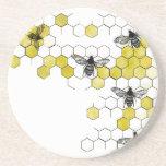 Honey Bee Honeycomb Coasters