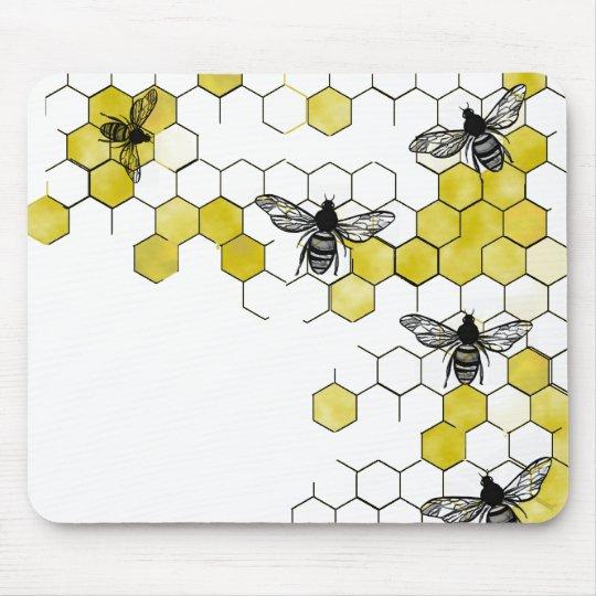 Honey Bee Honeycomb Mouse Pad