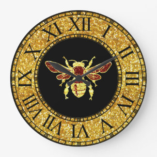 Honey Bee in Gold and Red Large Clock