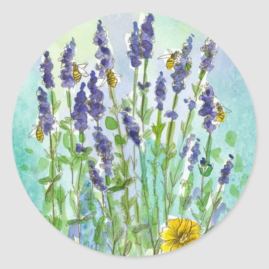 Honey Bee Lavender Herb Watercolor Flowers Classic Round