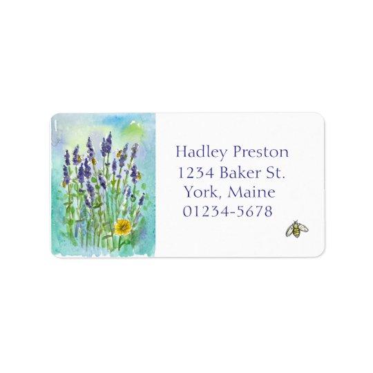 Honey Bee Lavender Watercolor Flowers Address Label