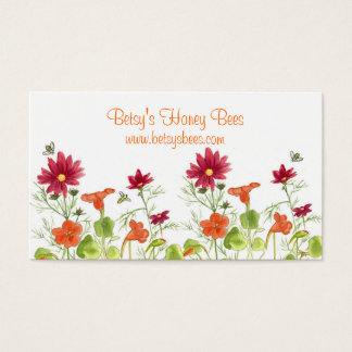 Honey Bee Nasturtium Business Card Painted Daisy