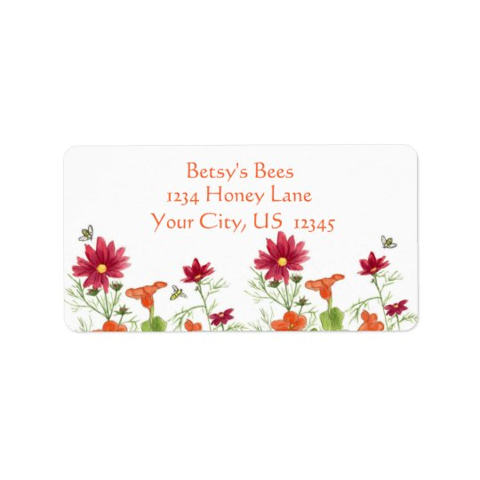 Honey Bee Nasturtium Red Painted Daisy Address Label