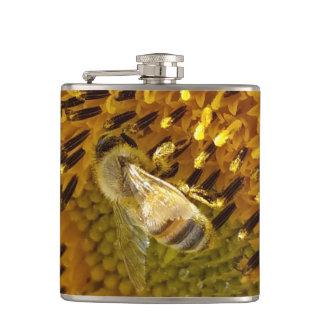 Honey Bee On a Sunflower Monogram  on back Flask