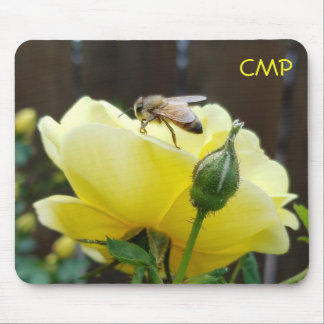Honey Bee on a Yellow Rose your Initials Mouse Mat