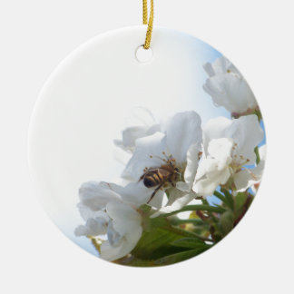 Honey Bee on Cherry Blossoms Christmas Ornament