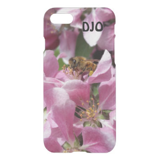 Honey Bee on Crabapple blossom and your Initials iPhone 7 Case