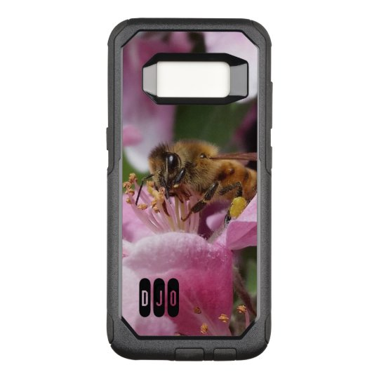 Honey Bee on Crabapple blossom and your Initials OtterBox Commuter Samsung Galaxy S8 Case