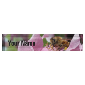 Honey Bee on Crabapple Blossom your Name Name Plates