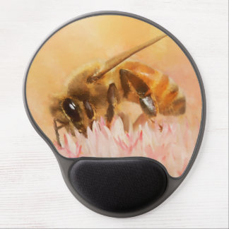 Honey bee on pink and white flower blossom gel mouse mat