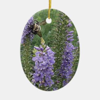 Honey Bee on Purple Flower 2 Christmas Ornament