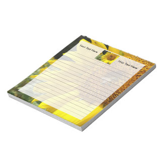 Honey Bee on Yellow Sunflower Notepad