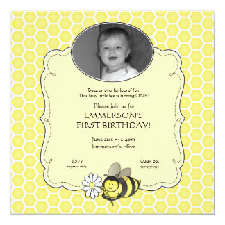 Honey Bee Photo Birthday Invitation