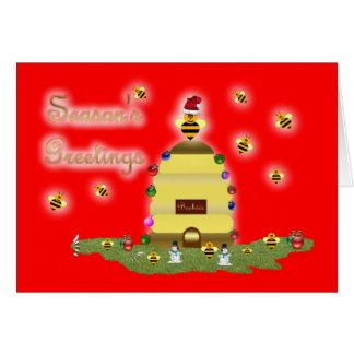 Honey bee season's greetings honey bee apiary buzz greeting card