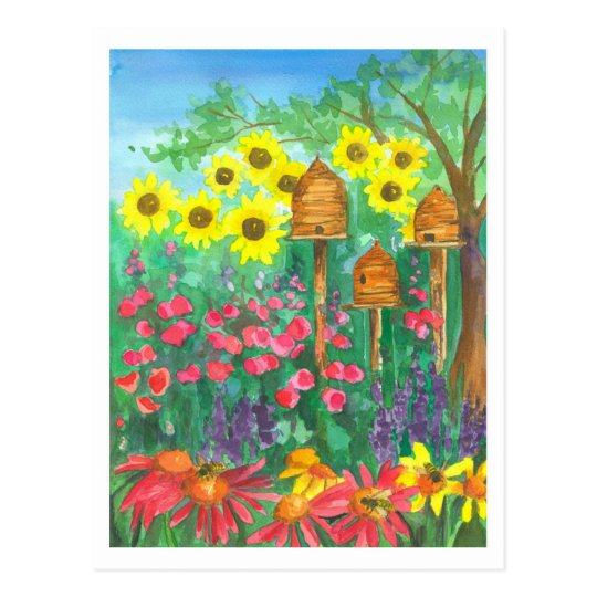 Honey Bee Skep Sunflowers Watercolor Garden Postcard