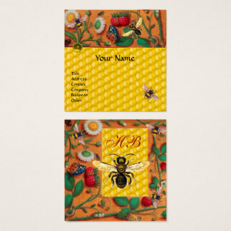 HONEY BEE SPRING FLOWERS,STRAWBERRIES BEEKEPER SQUARE BUSINESS CARD