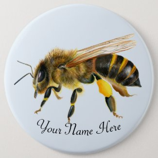 Honey Bee Watercolor Artwork 6 Cm Round Badge