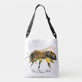 Honey Bee Watercolor Artwork Crossbody Bag