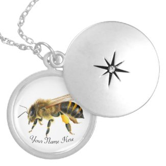 Honey Bee Watercolor Artwork Locket Necklace