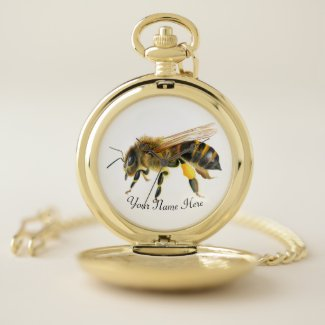 Honey Bee Watercolor Artwork Pocket Watch