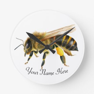 Honey Bee Watercolor Artwork Round Clock