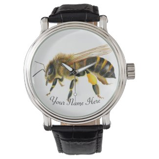 Honey Bee Watercolor Artwork Watch