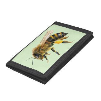 Honey Bee Watercolor Painting Artwork Trifold Wallet