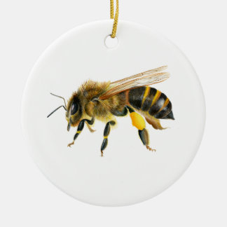Honey Bee Watercolour Painting Artwork Print Christmas Ornament