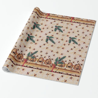 HONEY BEE WITH PINE CONES BEEKEEPER SUPPLIES WRAPPING PAPER