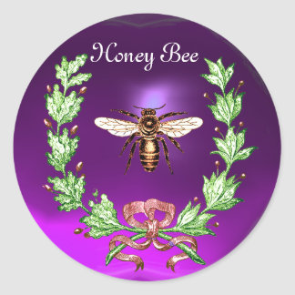 HONEY BEE ,WREATH WITH OAK LEAVES  AND RED RIBBON ROUND STICKERS
