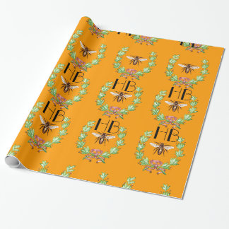 HONEY BEE ,WREATH WITH OAK LEAVES  MONOGRAM WRAPPING PAPER