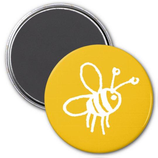 Honey bee yellow 7.5 cm round magnet
