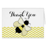 Honey Bee Yellow Zigzag Thank You Note Card