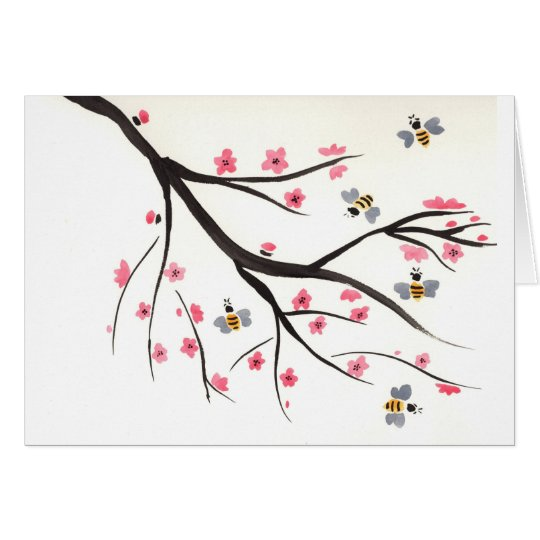Honey Bees and Cherry Blossoms Card