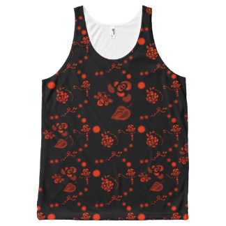Honey Bees and Romantic Red Roses Flirty Floral All-Over Print Tank Top