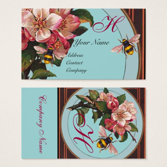 HONEY BEES AND WILD ROSES IN SKY BLUE MONOGRAM BUSINESS CARD