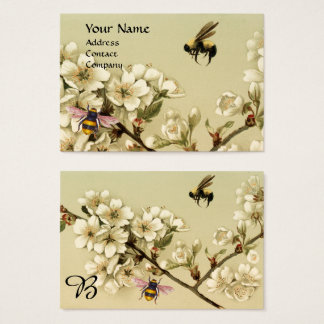 HONEY BEES AND WILD ROSES MONOGRAM BUSINESS CARD
