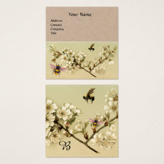 HONEY BEES AND WILD ROSES MONOGRAM Kraft Paper Square Business Card