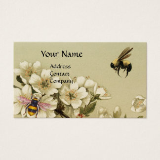 HONEY BEES AND WILD ROSES MONOGRAM Pearl Business Card