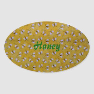 Honey Bees from my Garden Label Oval Stickers