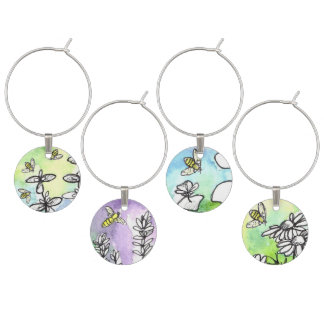 Honey Bees Herb Flowers Watercolor Art Wine Charm