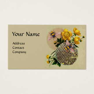 HONEY BEES,HONEYCOMB AND BUTTERCUPS MONOGRAM Pearl Business Card