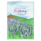 Honey Bees Lavender Field Happy Birthday Sister Card