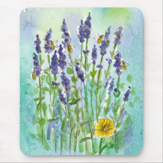 Honey Bees Lavender Watercolor Flowers Blue Mouse Pad