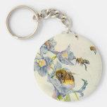 Honey Bees & Morning Glory Flowers EZ2 Customise Basic Round Button Key Ring